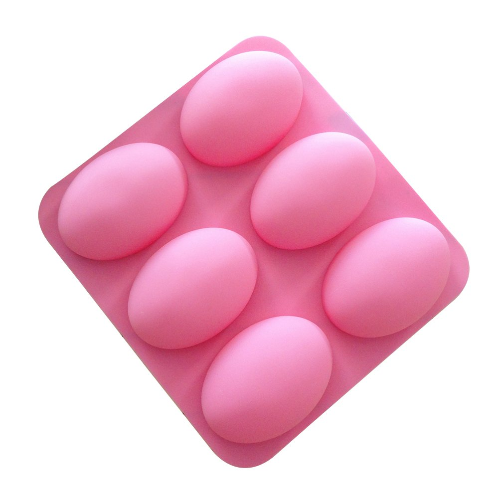 Outflower Soap Mold Silicone Soap DIY Molds Handmade Soap Making Moulds(6 Cavity Oval Shaped)