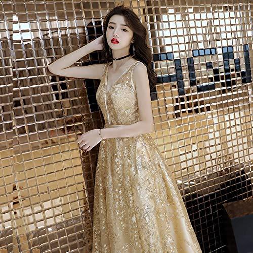 Ailin Mujer Con S Para Home Tamaño Gold Champagne V Honor Dorado Elegante Noche Vestido color Gold En Cuello De Dama Largo Ipx6qH0B