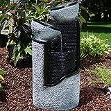 Sunnydaze Dark Gray Stone Pillar & Silver Bowls Solar on Demand Fountain, 27 Inch