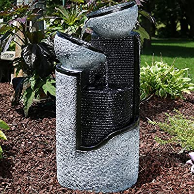 Sunnydaze Dark Gray Stone Pillar & Silver Bowls Solar Power Outdoor Water Fountain, 27 Inch Tall - OVERALL DIMENSIONS: 13.5 inches wide x 12 inches deep x 27 inches tall; weighs 14.8 pounds, so it is sure to look beautiful in your outdoor space DURABLE CONSTRUCTION: Made of durable, lightweight, and easy-to-move polyresin and fiberglass; It is always recommended that you bring this fountain indoors or completely empty, dry and cover it when the temperature is below freezing INCLUDES: Fountain, solar panel and pump with battery pack, optional LED lighting for the third level, and two 16-foot cords - one for connecting the LED lights to the panel and the other for connecting the pump to the panel - patio, fountains, outdoor-decor - 61Hn9 ZZlyL. SS400  -