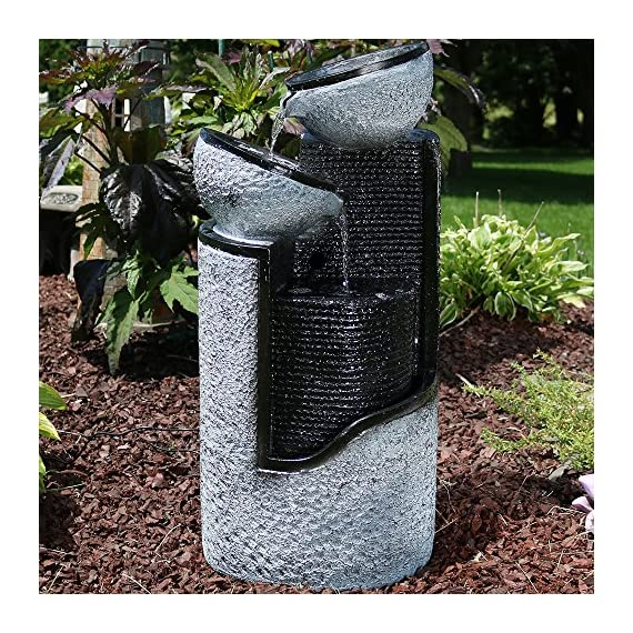 Sunnydaze Dark Gray Stone Pillar & Silver Bowls Solar Power Outdoor Water Fountain, 27 Inch Tall - OVERALL DIMENSIONS: 13.5 inches wide x 12 inches deep x 27 inches tall; weighs 14.8 pounds, so it is sure to look beautiful in your outdoor space DURABLE CONSTRUCTION: Made of durable, lightweight, and easy-to-move polyresin and fiberglass; It is always recommended that you bring this fountain indoors or completely empty, dry and cover it when the temperature is below freezing INCLUDES: Fountain, solar panel and pump with battery pack, optional LED lighting for the third level, and two 16-foot cords - one for connecting the LED lights to the panel and the other for connecting the pump to the panel - patio, fountains, outdoor-decor - 61Hn9 ZZlyL. SS570  -
