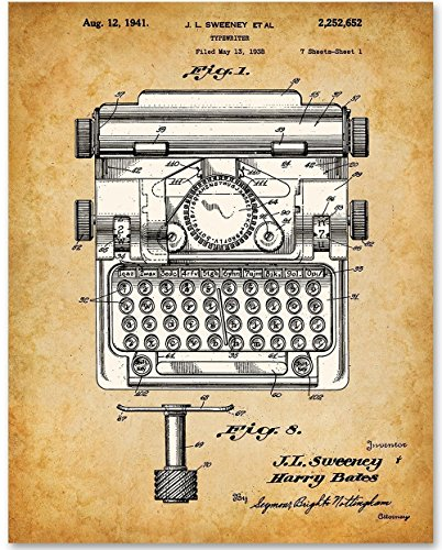 Typewriter Office Art - 11x14 Unframed Patent Print - Great Gift for Writers (Ribbon Patent)