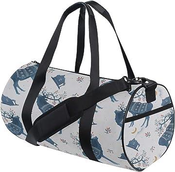 Travel Weekender Duffel Bag for Man and Woman Gym Bag with Minimal Elk Silhouette Print