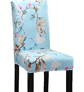 Elastic Stretch Antifouling Dining Chair Seat Protector Slipcover Decor  Washable Removable Cover (Sky Blue)