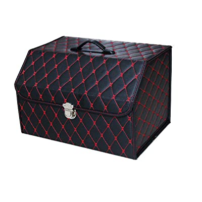 NINGIS Trunk Organizer Car Storage with Bottom Waterproof Heavy Duty Foldable Suit Any in-Vehicle Organization Needs(Black-Red): Automotive