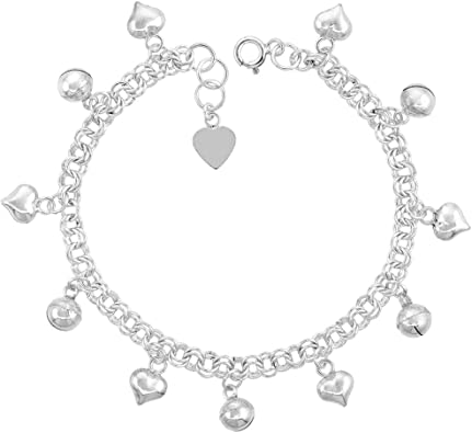 Silver anklet with bells and extender chain