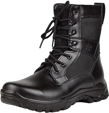 Homme à Lacets Militaire Haut Top Randonnée Fermeture Éclair Latérale Travail Chaussures Tactique Cheville Bottes