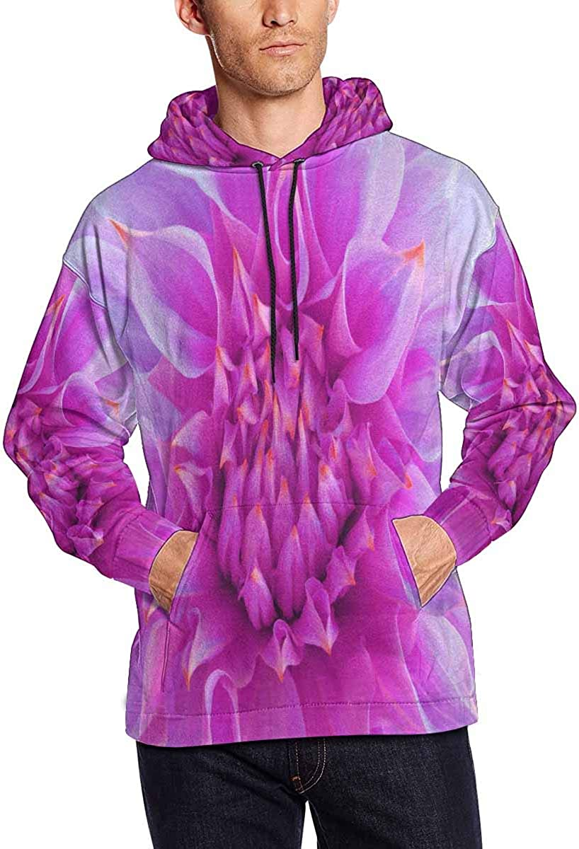 INTERESTPRINT Mens Bright Pink Dahlia Nature Beautiful Flower Long Sleeve Hoodie
