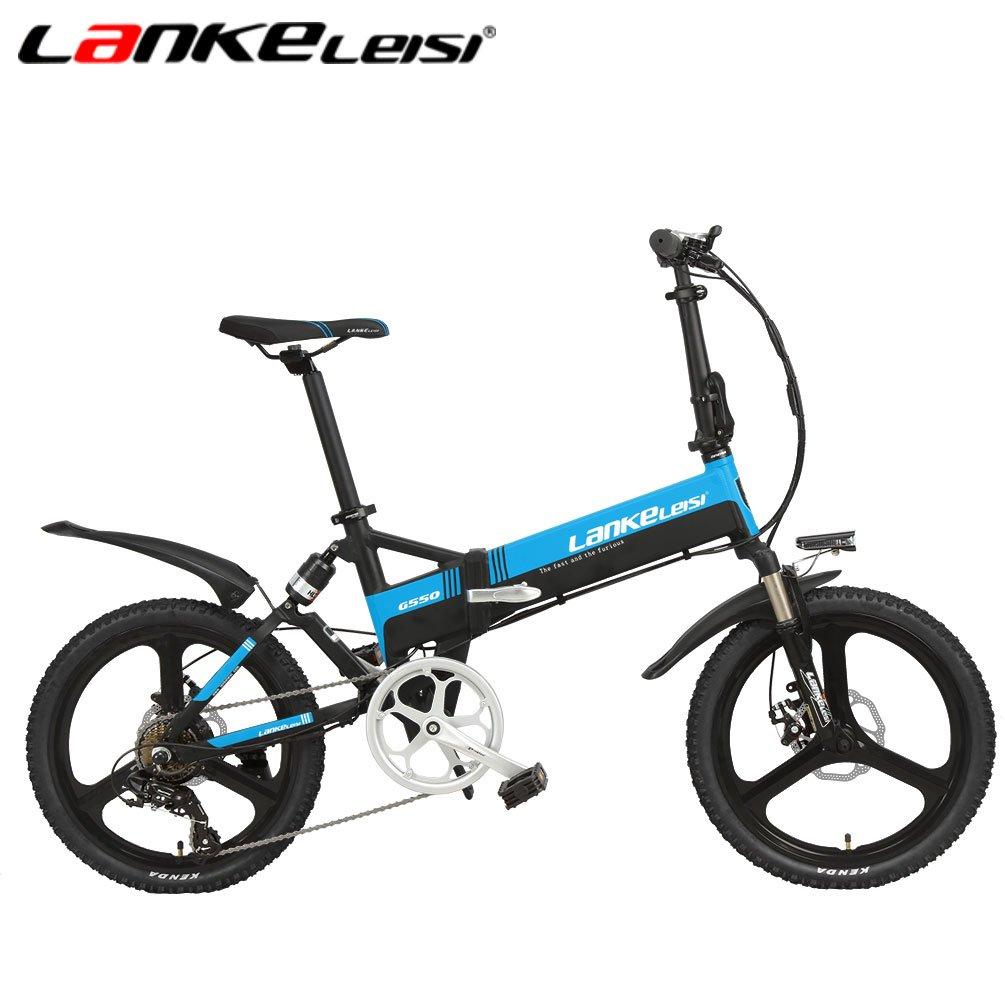 LANKELEISI G550高度な構成の電動自転車 20インチ48 V/240 W 10 AHリチウム電子バイク7スピード 折りたたみフルサスペンション自転車 5ギア B079BD5QNS ブラックブルー ブラックブルー