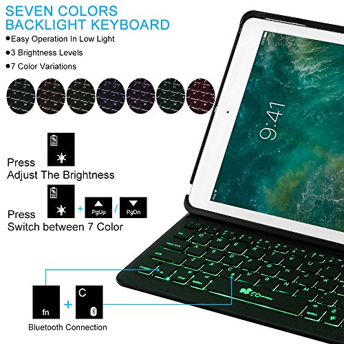 2018 iPad 9.7 6th Generation/Pad Air/iPad 9.7 Keyboard Case EC Technology 7 Color Backlit Hard Shell Wireless Bluetooth Keyboard Cover,Ultra Slim,Portable with Auto Sleep/Wake-Black by EC Technology (Image #2)
