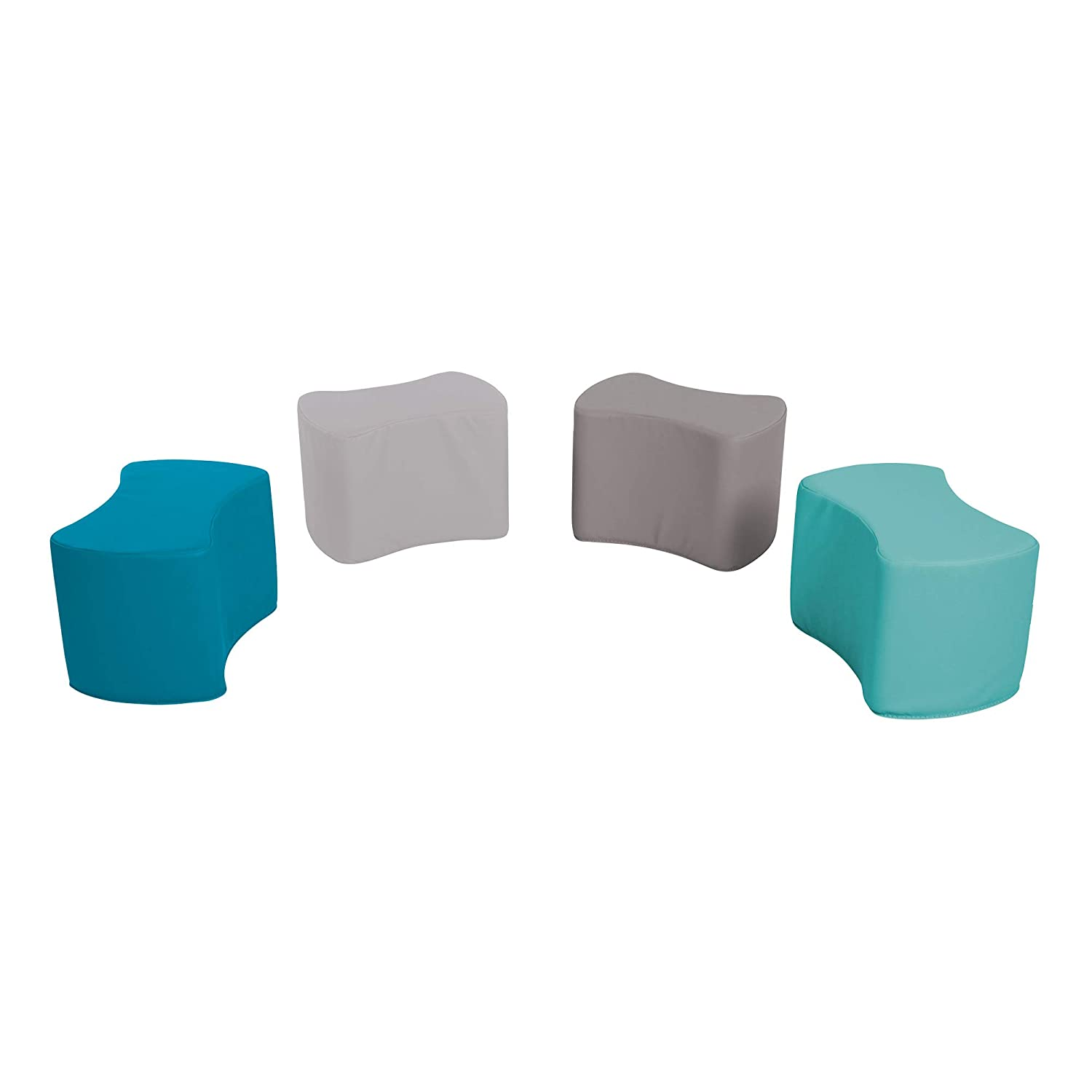 - Earthtone Assorted Colors 10H Bow Tie Stool Set for Toddlers and Kids- Six Piece Set Sprogs Foam Soft Flexible Seating