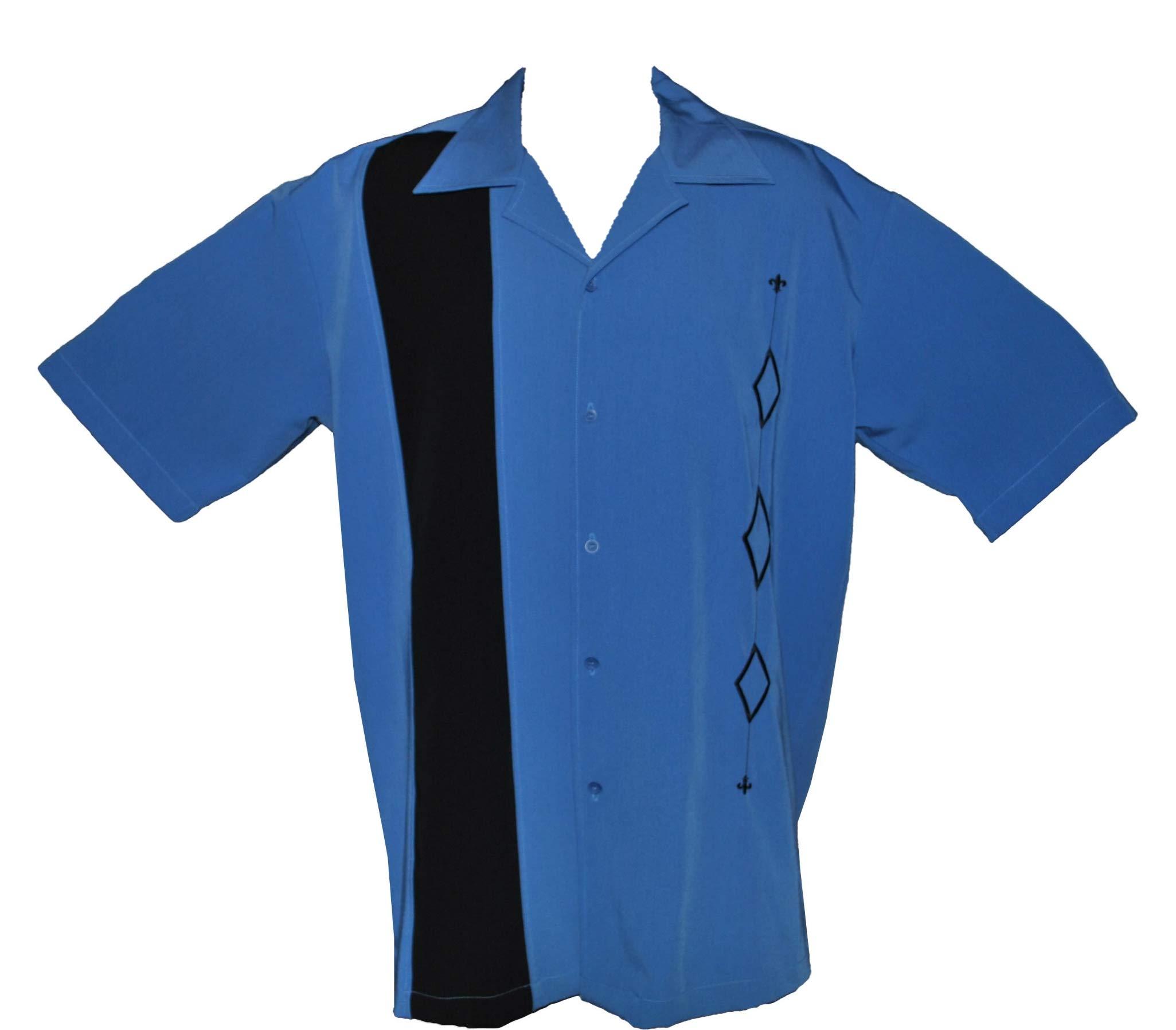 Designs by Attila Mens 2XLT Retro Bowling Shirt, Big & Tall Sizes. Alaska Blue by Designs by Attila