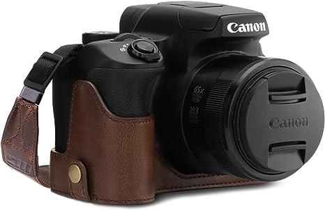 Megagear mg1601 para Canon powershot sx70 HS Estuche Ever Ready, Media Funda, Estuche de Base, Funda de Cuero, de Pronto Uso, con Correa: Amazon.es: Electrónica