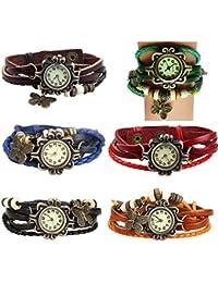 6 Pack Womens Ladies Girls Vintage Retro Butterfly Pendant Bracelet Wrist Watches