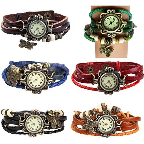 Yunanwa 6 Pack Womens Ladies Girls Vintage Retro Butterfly Pendant Bracelet Wrist Watches