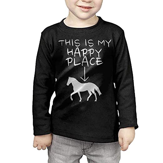 Fryhyu8 Newborn Childrens Happy Place Horse Riding Printed Long Sleeve 100 Cotton Infants Tops