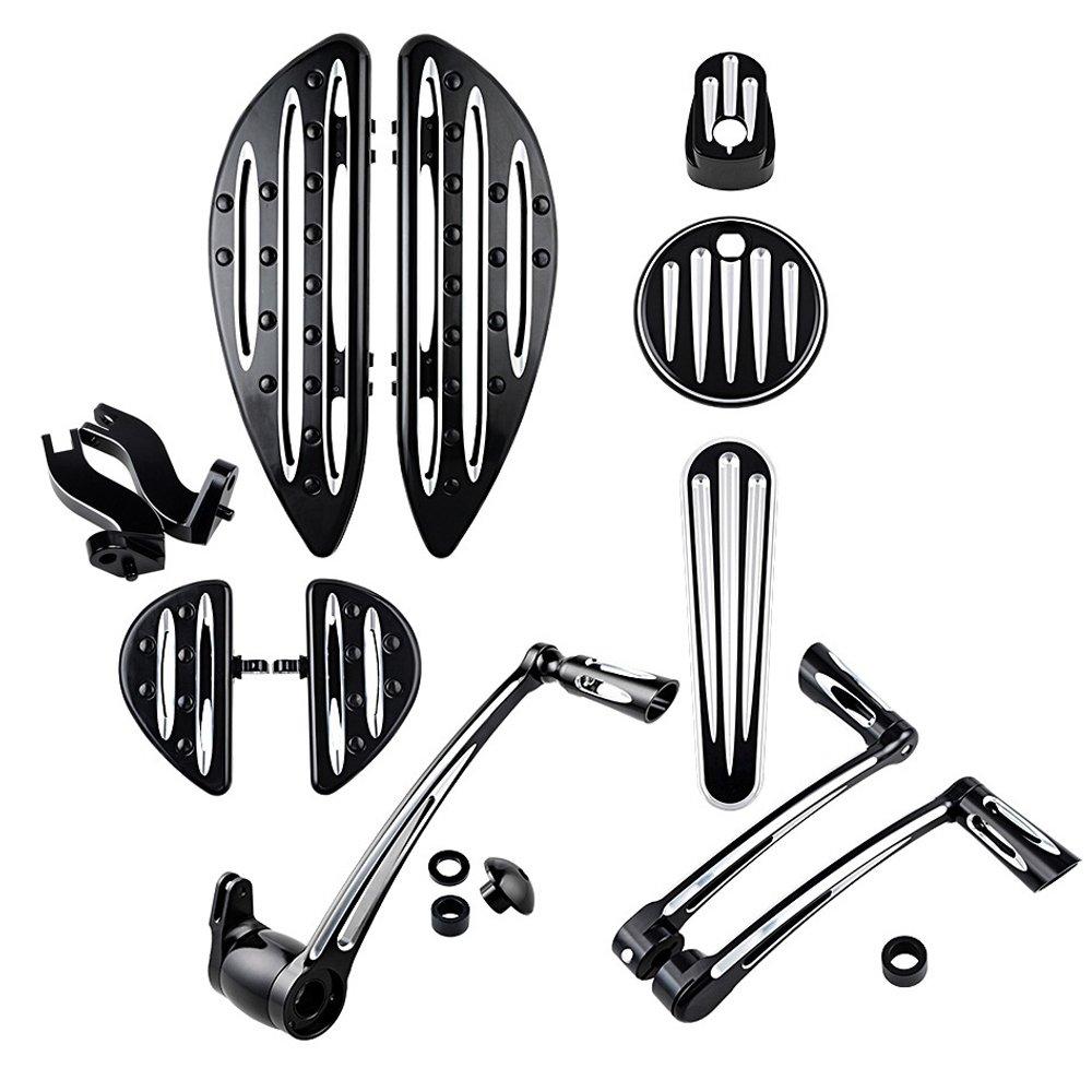 Driver & Passenger Floor boards w/ Peg Mount + Brake Arm Kit + Toe Heel Shift Lever Shifter Peg + Dash Accessory + Ignition Cover For 2014-16 Harley Touring