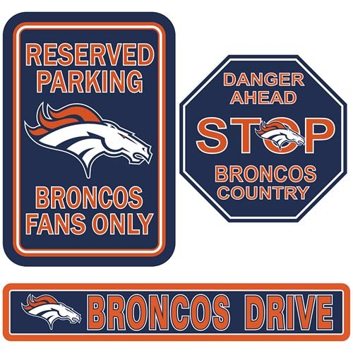 Denver Broncos Parking Sign - Fremont Die Denver Broncos Parking Sign 3-Pack Kit