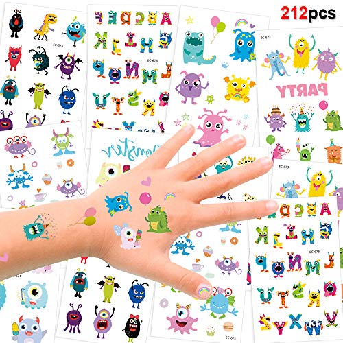 192 Assorted Halloween Kids Temporary Tattoo, Konsait Funny Colorful Monsters Temporary Tattoos for Children Boys Girls Kids Party Bag Filler and Gift for Halloween Party Favor Supplies Decoration ()