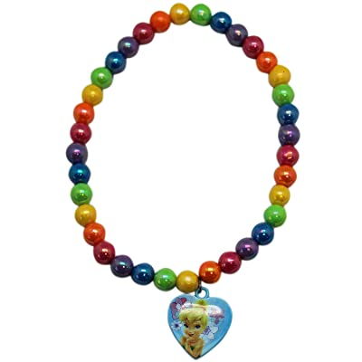 Disney Tinker Bell Rainbow Colored Beads with Heart Charm Necklace: Toys & Games