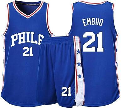 Camiseta Deportiva de Verano Joel Embiid Uniformes de Baloncesto para Adultos y ni/ños Uniforme de Baloncesto Philadelphia 76ers # 21 incluidos Pantalones Cortos Camiseta de Baloncesto