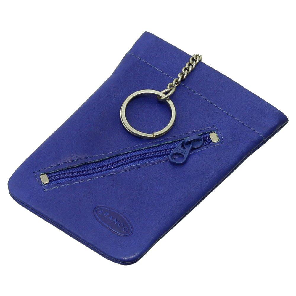 Piel Llave Campana estuche llavero llave funda con llavero Bolsa con cremallera Compartimento VERS Colores Nuevo Azul azul real