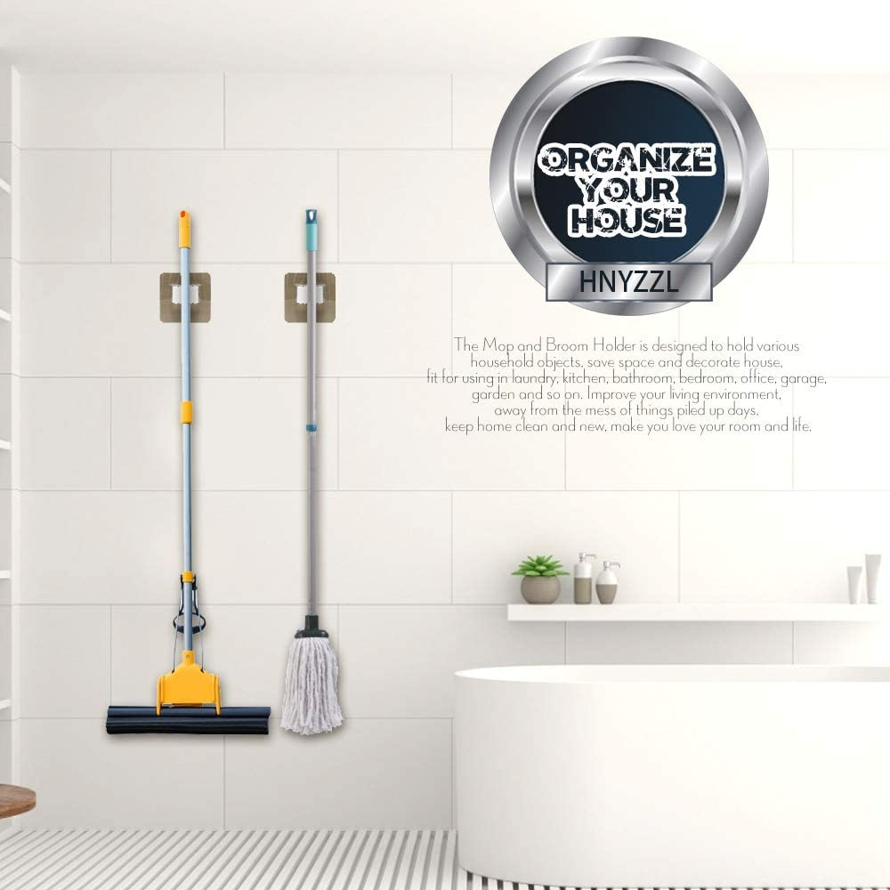 HNYYZL 2Pcs Broom /& Mop Holder Self Adhesive Wardrobe Strong Load-Bearing Wall Mounted Mop Holder Clamp Organizer Hang Rack Reusable Non-Slip Office Bathroom for Kitchen