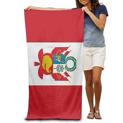 Toallas de Playa Yissalvunaz con Bandera del Perú de Lujo, 100% poliéster, Toalla