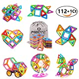 (112 PCS) Magnetic Building Blocks Educational Stacking Blocks Toddler Toys Preschool Boys Grils Toys with Car Wheel Toy Set for Kid's Educational and Creative Imagination Development by Mibote