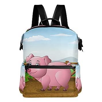 TIZORAX - Mochila Escolar con diseño de Cerdo de Dibujos Animados y Granja: Amazon.es: Deportes y aire libre