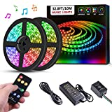 Sanwo Led Strip Lights Music Sync, 32.8ft/10m Dream Color LED Light Built-in IC, RGB 300Leds SMD5050 Flexible Strip Lighting with Remote, Color Changing Led Strip Chasing Effect for Home Kitchen