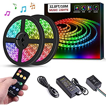 amazon com led strip lights led lights sync to music 16 4ft 5m ledsanwo led strip lights music sync, 32 8ft 10m dream color led light built in ic, rgb 300leds smd5050 flexible strip lighting with remote, color changing led