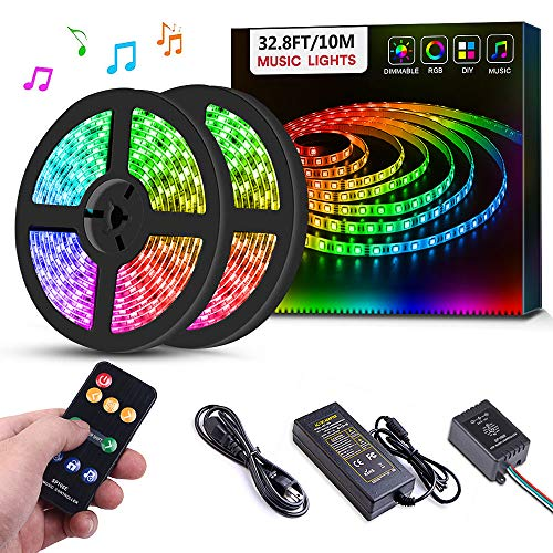Sanwo Led Strip Lights Music Sync, 32.8ft/10m Dream Color LED Light Built-in IC, RGB 300Leds SMD5050 Flexible Strip Lighting with Remote, Color Changing Led Strip Chasing Effect for Home ()