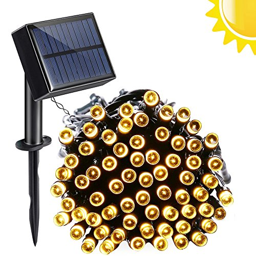 Venoro Solar String Lights, 40ft 100 LED 8 Modes Waterproof Solar or USB Charge Decoration Fairy Lights for Home, Outdoor, Garden, Patio, Lawn, Party, Wedding, Valentine's Day, Holiday (Yellow) from Venoro