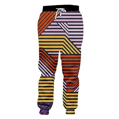 SenTenos Pantalones de chándal de Hombre Rayas de Colores Impresas ...