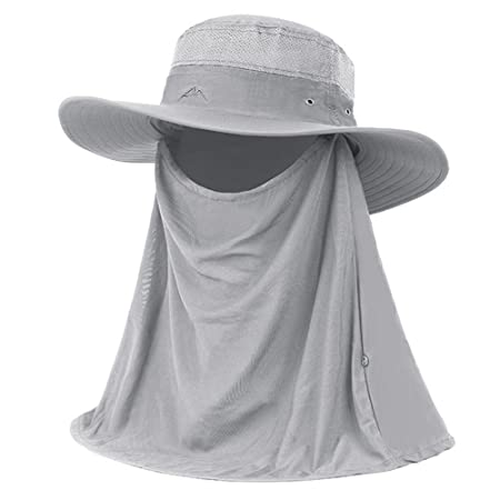 Amazon.com: LIANGJUN clothing Headwear Summer Mens Outdoor Sun Hats BoysCaps Visors Anti-UV Removable Shade Sun Protection Fishing, 4 Colors ornaments ...