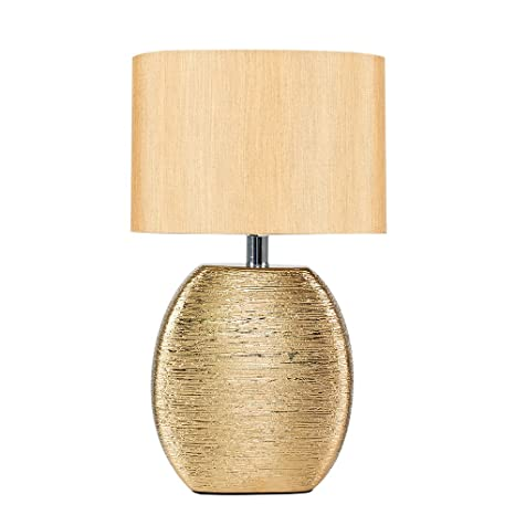 cf7fb9487a5f Modern Textured Metallic Gold Effect Ceramic Table Lamp with a Fabric Light  Shade: Amazon.co.uk: Lighting