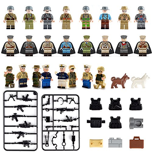 Military Toy Soldiers (Minifigures set-24 Army Marine Corps with Military Weapons Accessories Navy Soldier Minifigures Toys Building Blocks 100% Compatible)