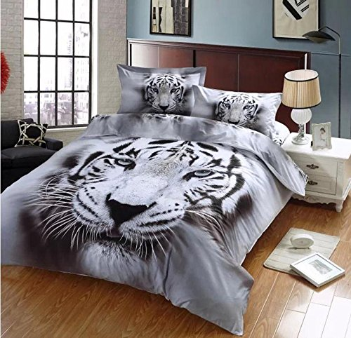 (Ammybeddings 4 PCs Cool Tiger Comforter Cover Set Soft Stylish Bedroom Decor Bedding Queen 1 Flat Sheet 2 Pillow Shams and 1 White Tiger Duvet Cover ( No Comforter,No Fitted Sheet ))