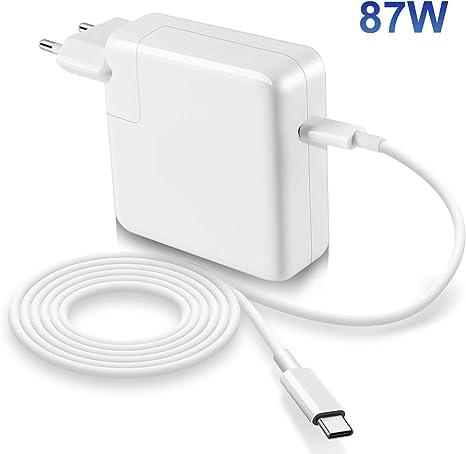 87W Adaptateur compatible avec le Macbook Pro Chargeur USB C 1315 pouces 2016 fin 2017 2018, câble USB C E Mark inclus (6.6ft2m), chargeur de