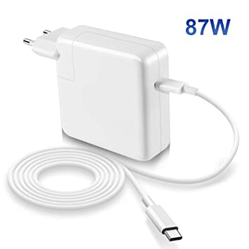 Compatible con Macbook Pro Air cargador 87W USB C de 13/15 pulgadas 2016 finales de 2017 2018, incluye cable E-Marker USB C (6.6ft/2m), cargador de ...