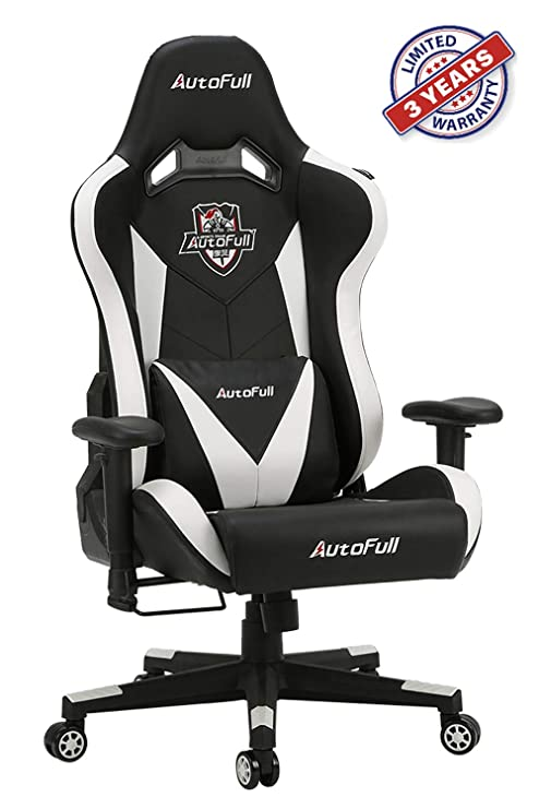 Awe Inspiring Autofull Ergonomic Gaming Office Chair Pu Leather Bucket Seat Racing Desk White Computer Chairs With Lumbar Support 3 Years Warranty Bralicious Painted Fabric Chair Ideas Braliciousco