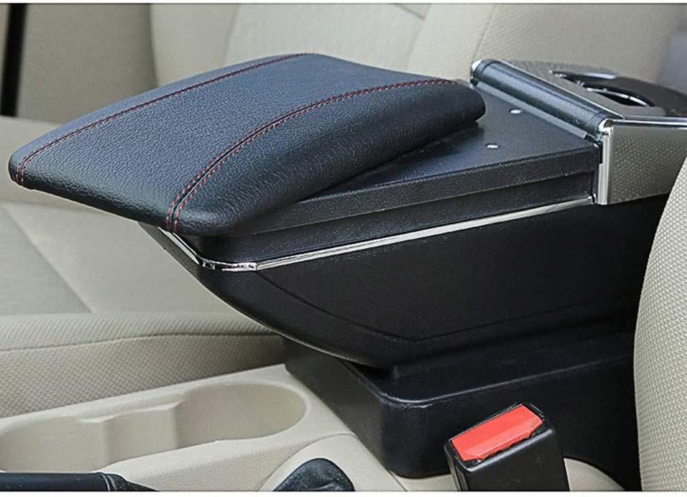 Para most cars universal Apoyabrazos Caja de almacenamiento Coches Reposabrazos Central Negro con l/ínea roja