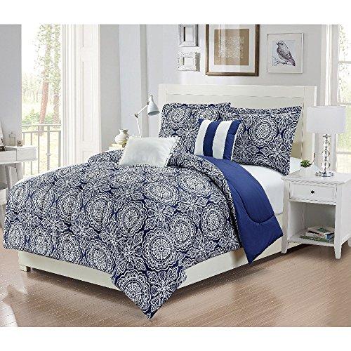 4 Piece Girls Dark Blue White Medallion Floral Theme Comforter Twin Set, Boho Chic Bohemian Flower Bedding, Beautiful Stylish All Over Multi Heart Scroll Motif Themed Pattern, Navy