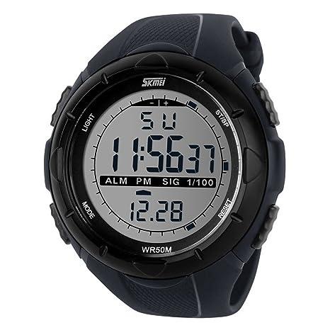 oumosi para la práctica de deportes reloj Skmei LED Digital Resistente al agua Alarma Cronógrafo podómetro