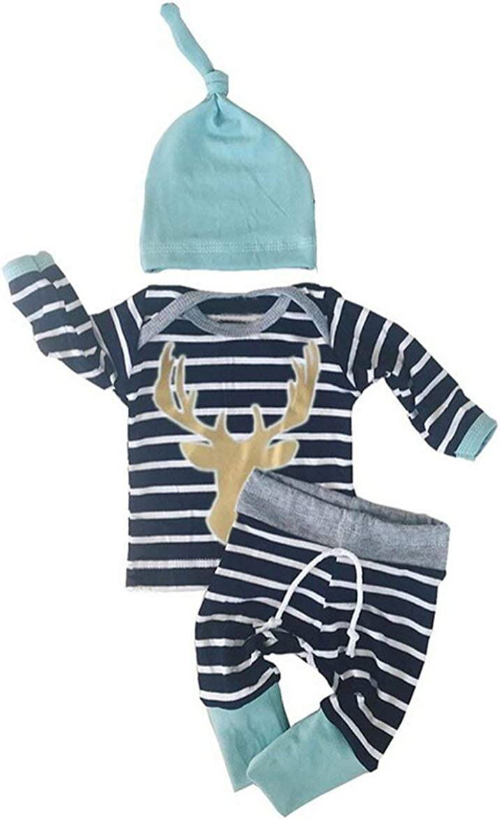 Baby Boys 3pcs Long Sleeve Tops with Leggings and Hat Outfit Set Newborn Clothes