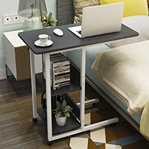 Overbed Table Laptop Table Bed Computer Tilt Bedside Table Notebook Stand Tiltable Tabletop Sofa Couch Bed Side Table Reading Table Stand Tray Angle Height with Wheels (Black)