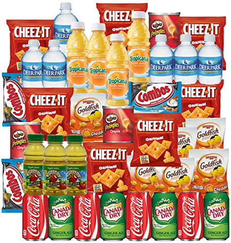 coca-cola-ginger-ale-bottled-water-apple-juice-tropicana-orange-cheeze-it-pringles-goldfish-combos-s