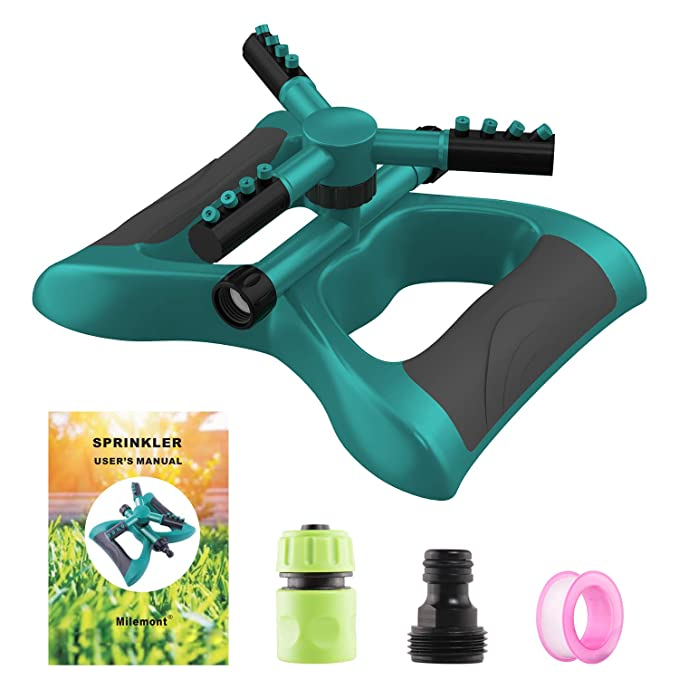 Milemont Garden Sprinkler - Best For 360-Degree Watering