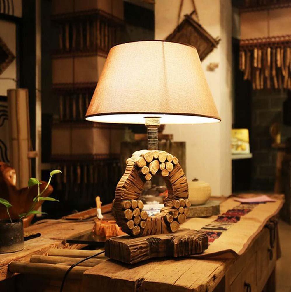 ヴィンテージテーブルランプソリッドウッドアートテーブルランプベッドルームベッドサイドランプアンティークランプ研究用テーブルランプ電球は含まれていません(W400 * H600mm)E27 B07GKPLXXT